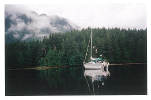 """Murrelet"" anchored in Quatsino Sound."