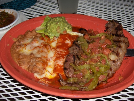 Tampique&ntilde;a Steak with a Red Enchilada and Guacamole