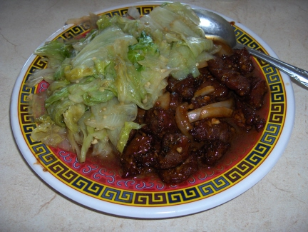 Pepper beef with cabbage