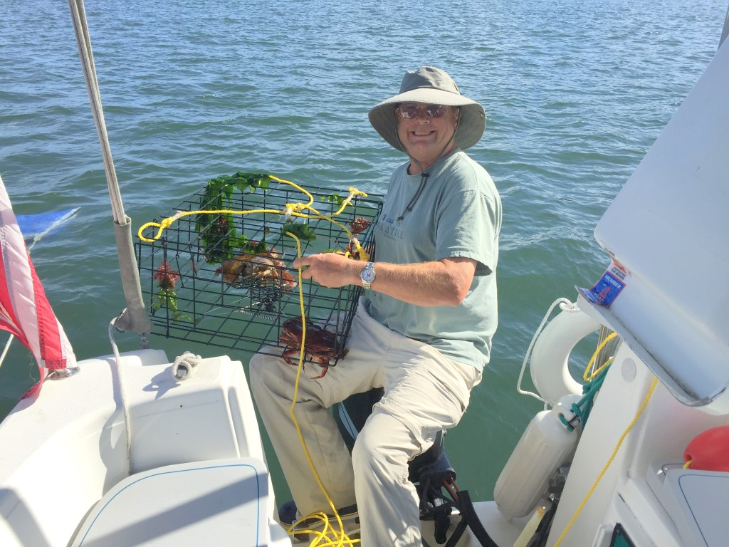 Crabbing is good at Blind Bay.
