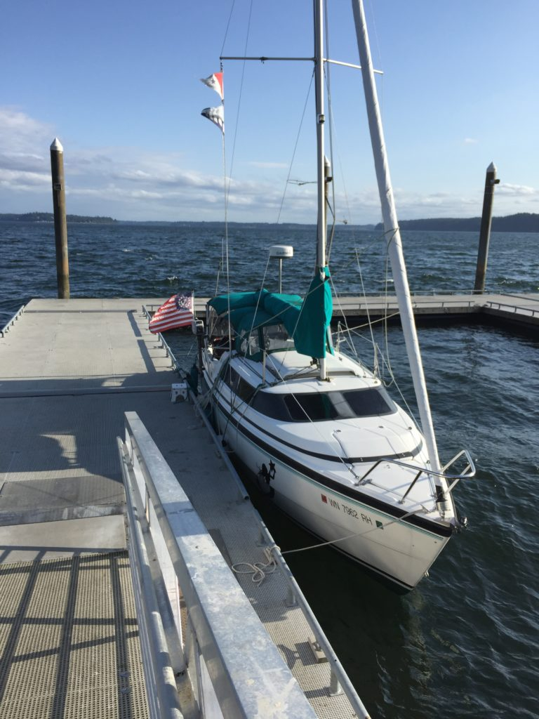 "Joemma offers docks in the summer, which are exposed to southwest winds. ""Murrelet"" pictured here."